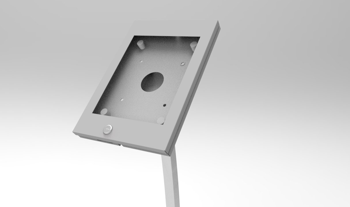 Fixture Displays iPad Podium Stand, Locking Enclosure, Ledge for Speaker's Notes, Power Cable - Silver 19614 by FixtureDisplays (Image #1)