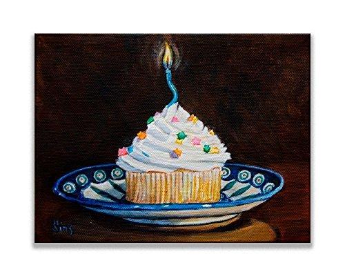 - Happy Birthday Polish Pottery Cupcake on a Plate Art Print Kitchen Wall Decor size mat option