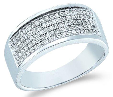 10k-White-Gold-Wide-Five-5-Row-Milgrain-Micro-Pave-Set-Round-Cut-Mens-Diamond-Wedding-Ring-Band-8mm-30-cttw