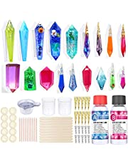Crystal Molds for Resin Starter Kit, 74 Pcs Pendulum Quartz Silicone Resin Molds with UV Gemstone Resin Pendant Molds, Crystal Clear Epoxy Resin,Tools Set for Jewelry Making DIY Art Craft Kits Gifts