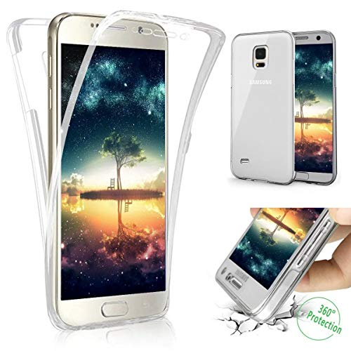 Galaxy S5 Case,ikasus [Full-Body 360 Coverage Protective] Crystal Clear Ultra-Slim Scratch-Resistant Front + Back Full Coverage Soft Clear TPU Silicone Rubber Case Cover for Samsung Galaxy S5,Clear