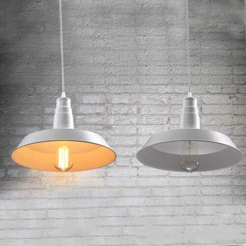 FidgetGear 26/36cm Industrial Loft Pendant Light Chandelier Lid-Shape Aluminum Ceiling Lamp White 36cm by FidgetGear