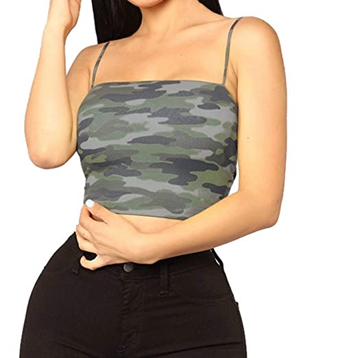 b80f00dd55462 Image Unavailable. Image not available for. Color  Nihewoo Women Blouse  Women Camouflage Sleeveless Tank Top Bustier Bra Vest Crop ...