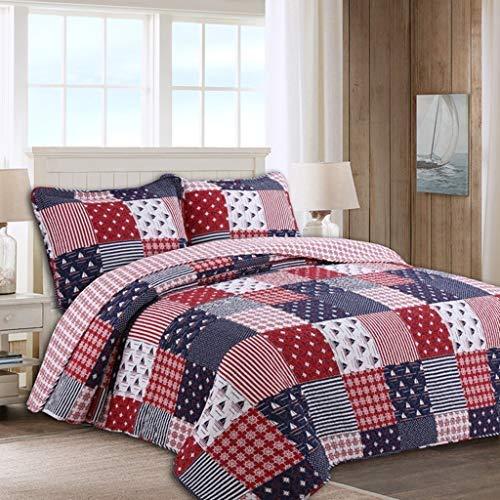ベッドライニング キルトのベッドカバーヴィンテージ3ピースコットンパッチワークキルトセットのベッドカバー掛け布団セット - キングサイズ寝具セットオールシーズン 写真ベッドライニング B07SZT9LZ3