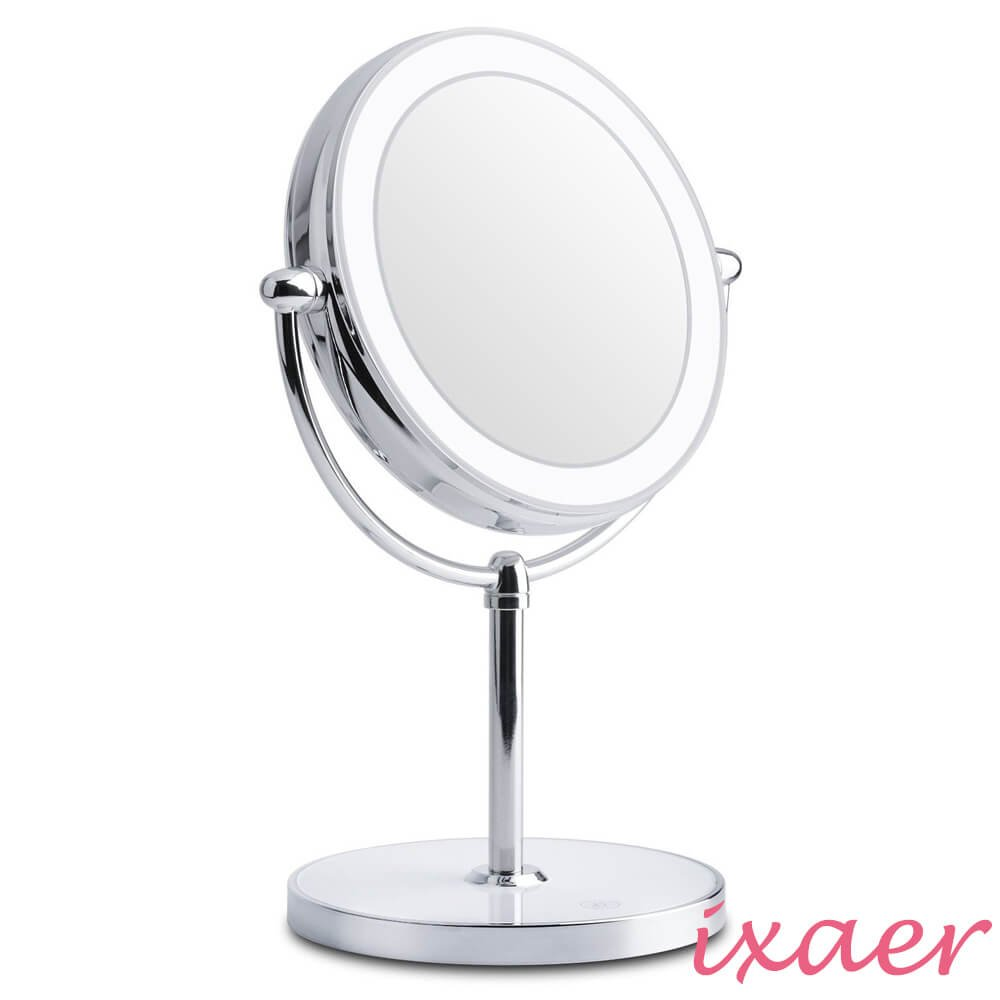 ixaer Magnifying Mirror, Double Sided Touch Screen LED Lighted Makeup/Brightness Adjustable Make Up Mirror/Cosmetic Mirror Stand Vanity Mirror.