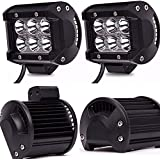 TURBO SII 4Pcs  4 Inches Spot Beam18W Led Work Light  Fog Lights For Chevrolet Dodge Ford GMC Jeep Toyota Polaris RZR Ranger ATV UTV Can Am Maverick Boat Suv Front Bumper Grill Mount 12-24V