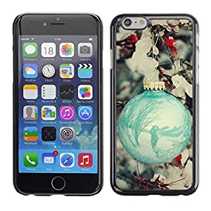 All Phone Most Case / Hard PC Metal piece Shell Slim Cover Protective Case for Apple Iphone 6 Plus 5.5 Ball Decoration Teal Snow Winter