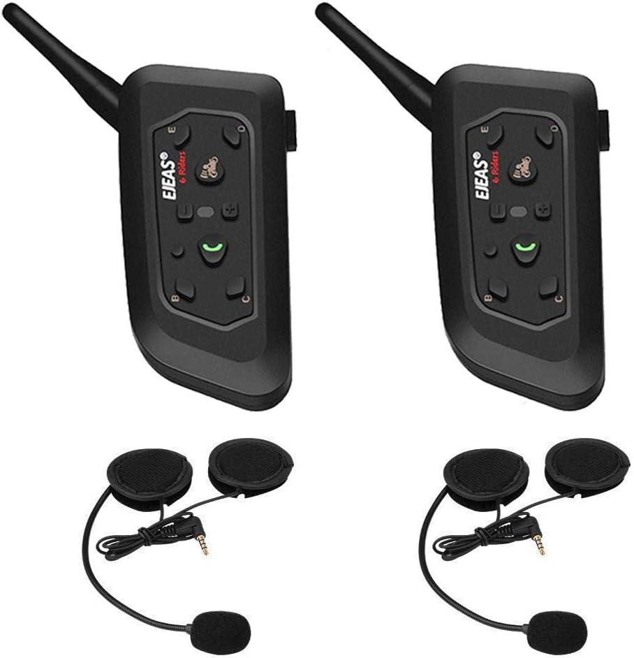 V6pro Intercomunicador Bluetooth Motocicletas,Intercomunicador de Casco,Casco Auriculares para Montar a Caballo/Esquí/Moto de Nieve/Scooter/MTB,6 Jinetes/12H Tiempo de Trabajo/Rango 1200m(2 pack)