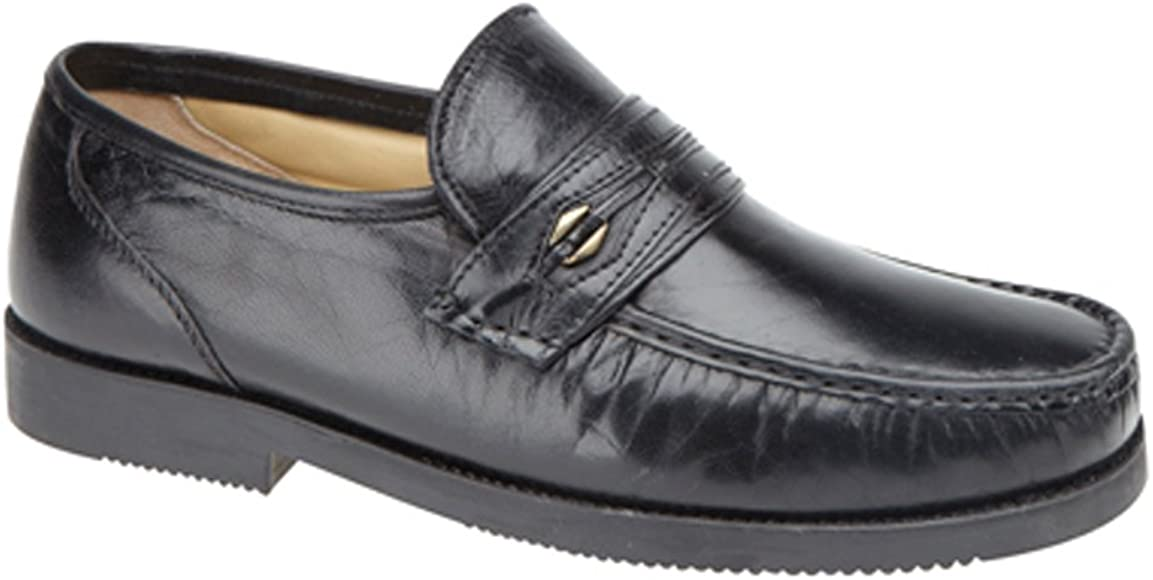 Tycoons Mens Black Leather Extra Wide