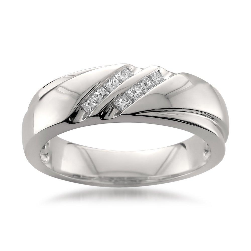 Platinum Double Row Princess-cut Diamond Men's Wedding Band Ring (1/4 cttw, H-I, SI1-SI2), Size 12