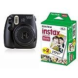 Fujifilm Instax Mini 8 Fotocamera Istantanea per Stampe Formato 62x46 mm, Nero + Fujifilm Instax Mini Film 10 Pellicola Instantanea per Instax Mini 7S, Mini 25 e Mini 50S, Set 2 Pezzi