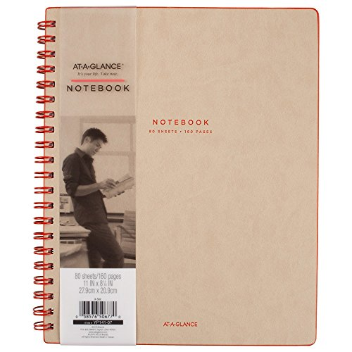 AT-A-GLANCE Collection Twin Wire Notebook, Ruled, 80 Sheets, 11
