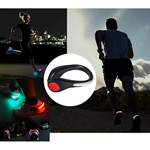 TEQIN LED Flash Shoe Safety Clip Lights for Runners & Night Running Gear - Reflective Running Gear for Running, Jogging, Walking, Spinning or Biking + Velvet Bag - (Set of 2) by TEQIN (Image #5)