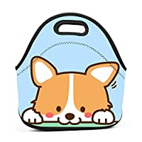 Kawaii Dog Insulated Neoprene Lunch Bag for Men Women and Kids - Reusable Soft Lunch Box for Work and School Water-Resistant 3D Printed