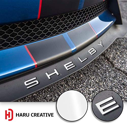 Haru Creative - Front Splitter Lip Hood Grille Letter Insert Overlay Vinyl Decal Compatible with and Fits Mustang Shelby GT350 2015-2018 - Gloss White
