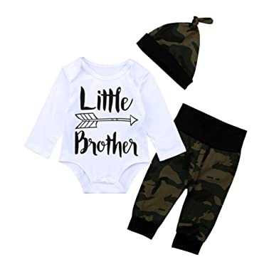 6b6c857fb OUTGLE Newborn Baby Boy Little Brother Romper + Camouflage Trousers + Hat  Clothing Set Autumn Outfits