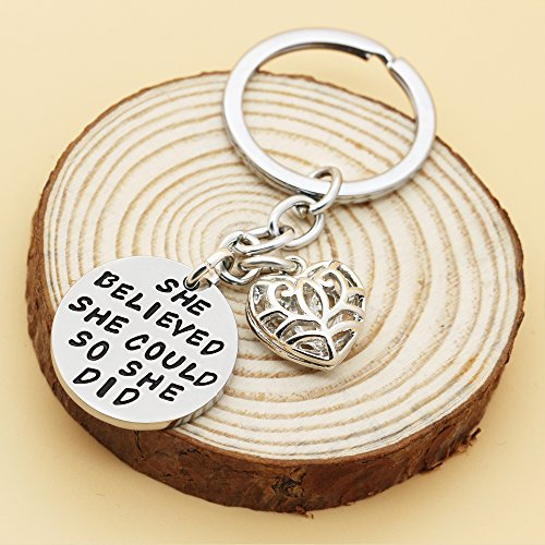 Family Friend Gift Silver She Believed She Could So She Did Double Pendant Key Chain Ring for Women Girl Photo #2