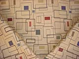 General Description: This listing is for a woven contemporary geometric pattern and is sold by the yard. 52H11 features a finely woven, linked chain design in navy blue, taupe, chocolate brown, sienna red on a tan background and incorporates a contem...