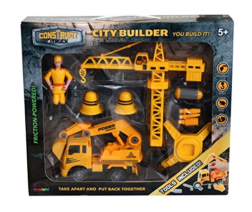 Construct a truck-city Builder set-excavator。作成A City Construction Site  then take the Truck Apart & Put It Back Together + Friction Powered (Like 3-toys-in-1 。) Award Winningセットencourages創造性。