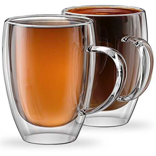 Stone & Mill 2 Glass Coffee Cups 12 oz, Insulated Double Wall Coffee Mugs AM-12 ()