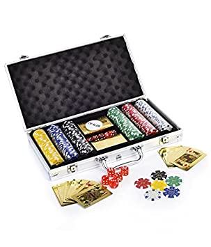 Kids Mandi Premium Poker Chip Set with Golden Colour Playing Cards | Comes with Aluminium Carrying Case, Dice, Dealer Button Included (300), Multi Color
