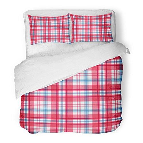 SanChic Duvet Cover Set Buffalo Red Blue Tartan Check Chequered Plaid Bedclothes Breakfast Decorative Bedding Set Pillow Sham Twin (Plaid Breakfast Pillow)