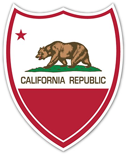 "State of California Republic Flag Shield High Quality Vinyl Decal Bumper Sticker 4"" X - California Flag Sticker"