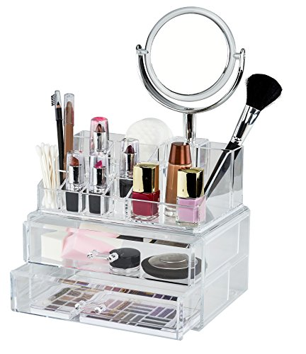 Elle Makeup Organizer with Mirror – Holder for Cosmetics & Jewelry with 15 Compartments Plus 2 Drawers in Clear Plastic by Elle