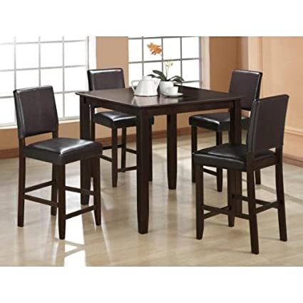Amazon.com - 5 Pc Derick Counter Height Table and 4 Stools Set ...