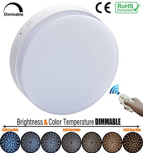 "7.09"" Dimmable 18W LED Flush Mount Ceiling Light, Surface Mounted Panel Down Lights On Wall or Ceiling, Remote Control, Brightness And Color Temperature Adjustable, 1620LM, (Temperature Range Remote Bulb)"