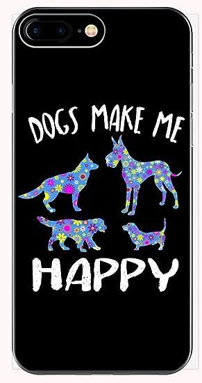 76a74f52f0d6 Amazon.com: Cute Dogs Make Me Happy Floral Design - Unique Dog Lover ...