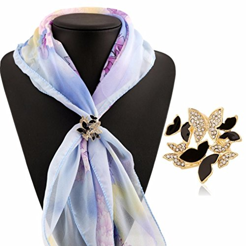 Mariposa Curtain (Usstore 1PC Women Lady Tricyclic Butterfly Scarf Buckle Brooch Holder Jewelry Decorate Gift (Black))