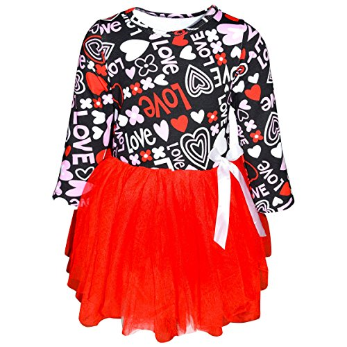 Unique Baby Girls Valentine's Day Love and Heart Dress With Tutu (2T/XS, Red)