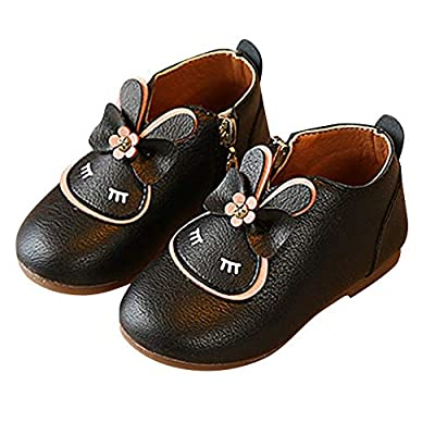 Tronet Kids Leather Boot, Baby Toddler Girls Cartoon Zipper Bowknot Casual Princess Shoes