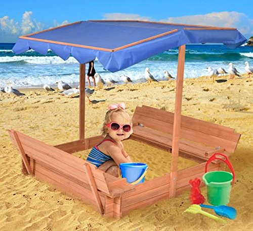K&A Company Outdoor Retractable Sandbox Canopy Bench Seat Children Kids Foldable Play Beach Party Kid Gift Fun Child Awning Fir Wood by K&A Company
