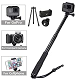Vicdozia Selfie Stick Waterproof, 37.5'' Extendable Monopod with Mini Tripod Stand for GoPro Hero 6/5/4/3+/3/2/1/Session Cameras, AKASO SJCAM Xiaomi Yi, Compact Cameras and Smartphones