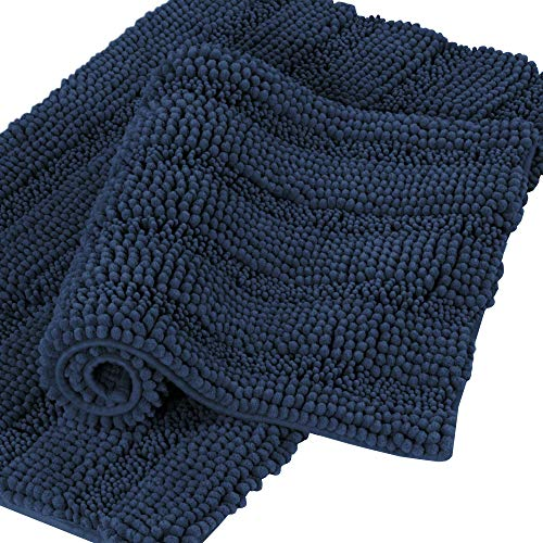 Bathroom Rugs and Mats Sets Chenille 2-Piece Bath Mat Set Non Slip Bath Mats for Tub Extra Soft and Absorbent Navy Blue Shaggy Rugs for Bedroom Machine Washable Bath Mats (20