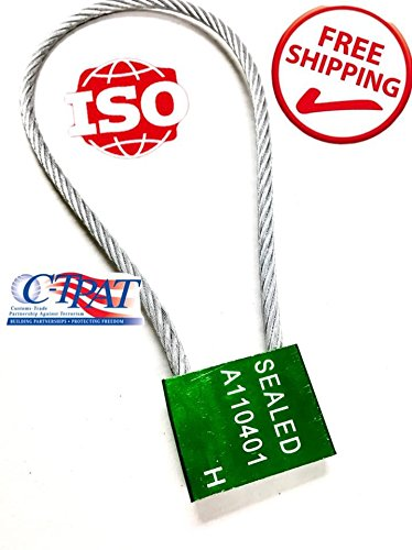 """14"""" length 1/5"""" inches thick 5mm Green Galvanized Steel Seals –Pull tight cable Seal -Truck Door Seals –Metal Seals –Strap Seals – –Same day Shipping (10 locks package) by AVG Packaging Supplies"""