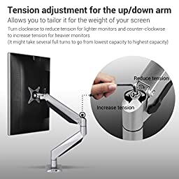 Loctek D7H Swivel Gas Spring Single LCD Arm Stand monitor Mount, the weight at least more than 20 lbs