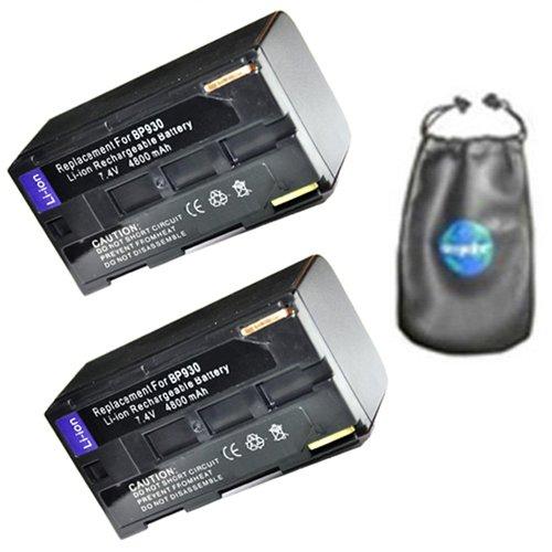 amsahr ValuePack (2 Count): Digital Replacement Camera and Camcorder Battery for Canon BP-911, BP-911k, BP-914, BP-915, BP-924, BP-927, BP-930, BP-930E, es-50, es-5000-Includes Lens Accessories Pouch