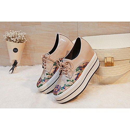 Repujado De WSXY Salón Bordado KJJDE Zapatos Cuero Plataforma con creamy Cerrada A0601 de white Proceso Mujeres de IqPwOCnq