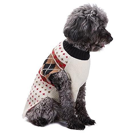 Abrigo para perros de raza pequeña, tamaño mediano, color crema, verde y rojo con lunares: Amazon.es: Productos para mascotas