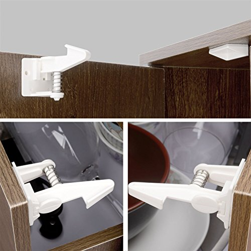 Child Safety Cabinet Locks Latches - 12 Pack,Kids Baby Proofing Lock Child Proof Drawer Locks - Cupboard Hidden Latch - Adhesive,Door Spring Lock - No Tools,Drill (White)