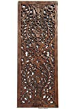 Large Carved Wood Wall Panel. Floral Wood Carved Wall Decor. Size 35.5''x13.5''x0.5'' (Brown)