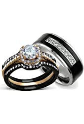His and Hers Wedding Ring Sets - Women's Halo Design CZ Wedding Rings Sets & Men's Titanium Matching Wedding Bands