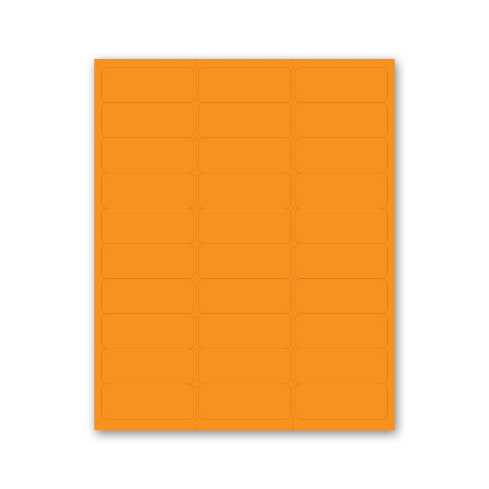 PDC Healthcare LS1258-7 Chart Labels Laser, Portrait, 2 5/8'' x 1'', Day Glow Orange (Pack of 30)