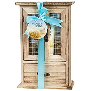 Home Spa Gift Basket - Fresh Aquatic Oceanside Breeze Spa Set for Women - Luxury Bath & Body Set For Women - Contains Shower Gel, Bubble Bath, Body Lotion and Puff in a Wooden Curio, At Home Spa Beach Experience