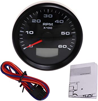 Samdo 85mm Marine Boat Tachometer Car Truck Tacho Gauge with Hour Meter 0-8000RPM 12V 24V
