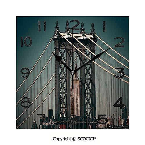 SCOCICI Print Square Wall Clock, 8 Inch City Lights Landscape View with Bridge Empire State Building Skyscrapes Picture Quiet Desk Clock for -