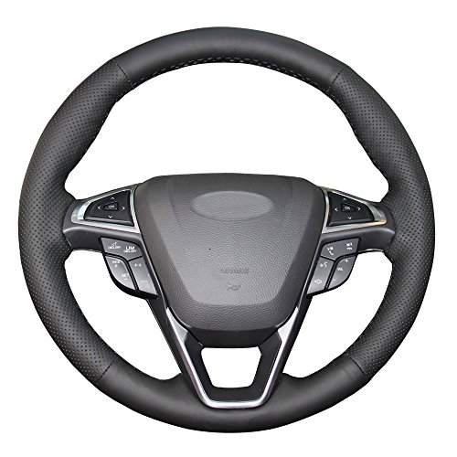 Eiseng DIY Genuine Leather Steering Wheel Cover for 2015 2016 2017 Ford Edge 4dr SUV / for 2013 2014 2015 2016 2017 2018 Ford Fusion Interior Accessories 15 inches Sew (Black thread) ()